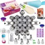 RFAQK 70Pcs Russian Piping Tips Set with Storage Box Cake Decorating Tools-30 Numbered Piping Tips21 Russian+6 Icing Tips+1 Ball tip+2 Leaf Tips with 35 Piping Bags-Pattern chart,EBook User Guide