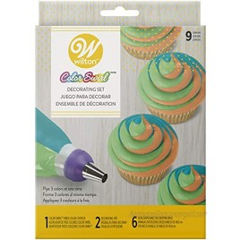 Wilton Color Swirl 3-Color Piping Bag Coupler 9-Piece Cake Decorating Kit