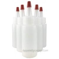 Hobbyland Squeeze Bottles LDPE Plastic Bottles Natural Cylinder Bottles Yorker Red Caps Tips have .30 Hole 1oz 6 Bottles