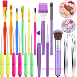 19 Pieces Cake Decorating Tool Set Cookie Decoration Brushes Sugar Cookie Brushes Elbow and Straight Tweezers Cake Decorating Supplies for Cookie Cake Fondant Decoration Tools