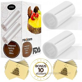 Cake Collar Acetate Rolls Set 2 Cake Collars Surrounding Edge Clear Sheets Wrap Large Tape 4 x 550 inch and 10 Paper Self-Adhesive Stickers Set for Cake Decorating Chocolate Mousse Baking Food