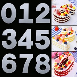 8 Inch 0-8 Number Cake Stencils Flat Plastic Cake Baking Templates Cake Molds Numerical Stencils with Silicone Spatula for Birthday Wedding Anniversary Cake Decorating DIY Craft