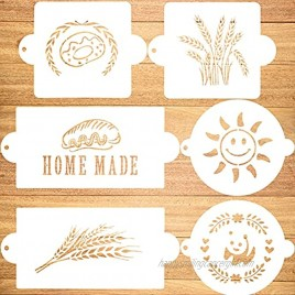 Konsait 6pack Cake Stencil Templates Decoration,Reusable Plastic Painting DIY Craft Templates Baking Mold Tools for Bread Cake Decorating Stencils for Birthday Wedding Party Favor Supplies