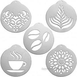 YERZ Coffee Decorating Stencils Barista Cappuccino Arts Garland Mould Cake DIY Decorating Tool Flowers Templates Coffeeware