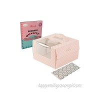 Bakery Cake Boxes 10-Set with Grease Proof Square Cake Boards. 8x8x5 in Attractive Pink Lemonade Color Sturdy Handle Large Clear Window. Ideal for Pies Pastry Baked Goods Gifts