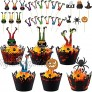 Chrisfall 72 Pieces Halloween Cupcake Wrappers Laser Cut Cupcake Liners Holders Halloween Paper Baking Cups 30 Pieces Halloween Cupcake Toppers Witch Boot Cake Topper Decorations for Halloween Party