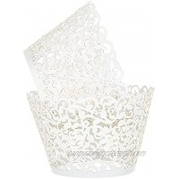 LEMESO 100 Pcs Cupcake Wrappers White Lace Cupcake Liners Laser Cut Liner Baking Cup Cupcake Wrappers Artistic Bake Wraps Muffin Cup Great for Party Cupcake Decors