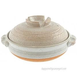 Kotobuki Donabe Japanese Hot Pot Shigaraki Brushstroke Design Casserole Pan Serves 4 to 5 White