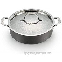 Lagostina Nera Hard Anodized Nonstick 5-Quart Casserole with Hammered Stainless Steel Lid Dishwasher Safe Cookware,Grey