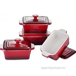 LOVECASA Stoneware Ramekins with Cover for Baking,11 Ounce Souffle Dishes Covered Rectangle Casserole Oven Safe Mini Casserole Dish with Lid Set of 4 Red