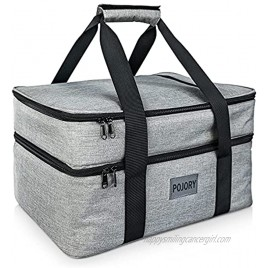POJORY Insulated Casserole Carrier for Hot or Cold Food Double Decker Casserole Dish Carrier Lasagna Holder Tote for Parties Picnic Potluck Beach Camping Fits 9x13 Baking Dish Grey