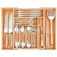 Bamboo Expandable Drawer Organizer NEDNEYy Cutlery and Utensil Tray Desk Drawer Organizer Silverware Holder Kitchen Knives Tray Drawer Organizer 100% Pure Bamboo Cutlery in Natural Color