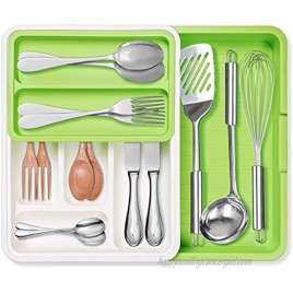 Expandable Cutlery Drawer Organizer GOKOCO Adjustable Flatware Drawer Tray for Silverware,PP 7 Slots Drawer Dividers for Kitchen Bedroom Living Room,Office Bathroom Supplies-BPA Free Food Safe