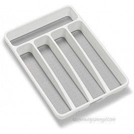 madesmart Classic Mini Silverware Tray White | CLASSIC COLLECTION | 5-Compartments | Kitchen Organizer |Soft-grip Lining and Non-slip Rubber Feet | BPA-Free