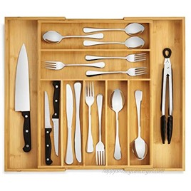 RMR Home Bamboo Silverware Drawer Organizer Expandable Kitchen Drawer Organizer and Utensil Organizer Perfect Size Cutlery Tray with Drawer Dividers for Kitchen Utensils and Flatware 7-9 Slots