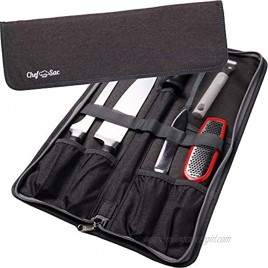 Chef Knife Bag Travel Folder Knife Case   4 Pockets for Knives & Kitchen Tools   Special Slot for Honing Rod   Camp Chef Accessories   Durable Knife Holder for Chefs & Culinary Students Dark Grey