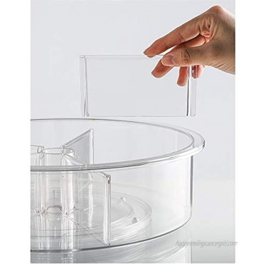 Slideep 11.5'' Lazy Susan Turntable Storage Container Plastic Clear Lazy Susan Cabinet Organizer Spinning Smoothly Clapboard Removable for Home Office School Pantry