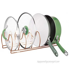 mDesign Metal Wire Pot Pan Organizer Rack for Kitchen Cabinet Pantry Shelves 6 Slots for Vertical or Horizontal Storage of Skillets Frying or Sauce Pans Lids Baking Stones Copper