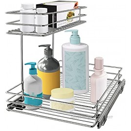 G-TING Pull Out Cabinet Organizer Under Sink Slide Out Storage Shelf with 2 Tier Sliding Wire Drawer 12.6W x 16.53D x 12.99H Request at Least 13 Inch Cabinet Opening