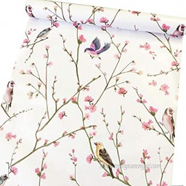 Self Adhesive Vinyl Vintage Floral Birds Shelf Liner Contact Paper for Cabinets Dresser Drawer Furniture Walls Decal 17.7X117 Inches