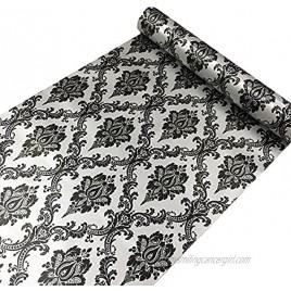 Yifely Retro Black Damask Furniture Paper Self-Adhesive Shelf Liner Light Grey Table Dresser Decor Sticker 17.7 Inch by 9.8 Feet