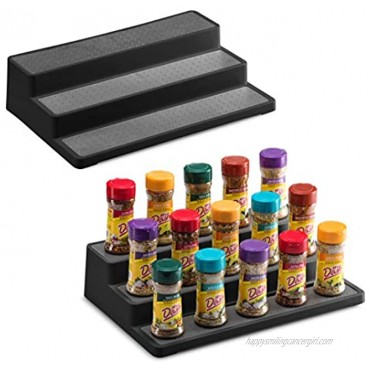 2 Pack Non Skid 3 Tier Spice Rack Organizer for Cabinet 14.5 Inch Modern Pantry Kitchen Countertop Stand 3 Step Shelf Black