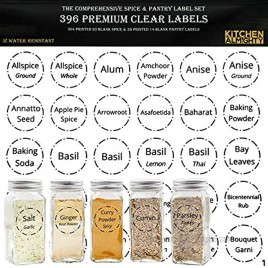 """396 Printed Spice Jars Labels and Pantry Stickers: Clear Round Spices Label 1.5 & Pantry Sticker 3"""" X 1.5"""" With Write-On Labels – Include a Numbered Reference Sheet – Water-Resistant"""