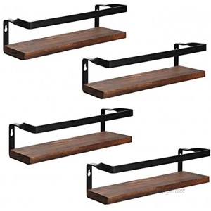 Aozita Spice Rack Wall Mount 4 Pack Hanging Spice Rack for Cabinet Cupboard Door Space Saving Rustic Wood Floating Shelf Farmhouse Wall Shelves for Bedroom Living Room Bathroom Kitchen Office