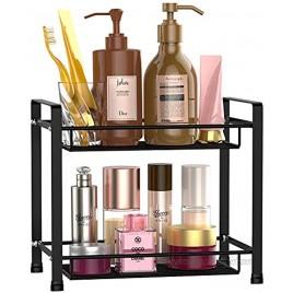 Bathroom Countertop Organizer F-color 2 Tier Detachable Kitchen Spice Rack Wire Basket Storage Counter Shelf Organizer Black