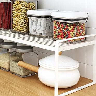 Countertop Organizer Cupboard Stand Spice Rack 13 Cabinet Pantry Shelf Organization and Storage For Kitchen Bathroom Milky White