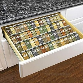 Lynk Professional Spice Cabinet Organizer 14 to 26 Drawer Tray-Expandable Silver Metallic