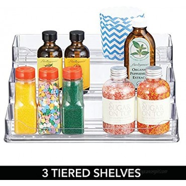 mDesign Plastic Spice and Food Kitchen Cabinet Pantry Shelf Organizer 3 Tier Storage Modern Compact Caddy Rack Holds Spices Herb Bottles Jars for Shelves Cupboards Refrigerator Clear