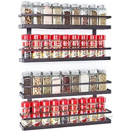 MEIQIHOME 4 Tier Wall Mounted Spice Rack Organizer Spice Shelf Storage Holder for Kitchen Cabinet Pantry Door Countertop