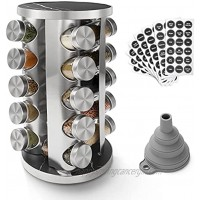 Rotating Spice Rack Organizer with 20 Empty Spice Jars 135 Spice Labels with Funnel Complete Set,for Countertop,Cabinet