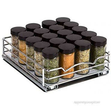 Spice Rack Organizer for Cabinet – Pull Out Spice Rack Heavy Duty Chrome 8-3 8Wx 10-3 8D x 2-1 8 H Slide Out for Upper Kitchen Cabinets and Pantry Closet For Spices Sauces Canned Food etc.
