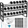 Spice Rack with 24 Empty Spice Jars Standing or Wall Mounted Spice Rack Organizer for Countertop Cabinet Kitchen Pantry Seasoning Holder Organizer with 420 Spice Labels Marker and Funnel