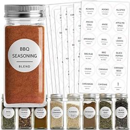 Talented Kitchen 144 Spice Jar Labels Preprinted. 144 Minimalist Black Text on Round White Label. Fits Spice Jar Lids. Water Resistant Spice Labels Sticker. Seasoning Herb & Spice Rack Organization