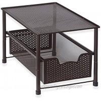 SimpleHouseware Stackable Under Sink Cabinet Sliding Basket Organizer Drawer Bronze