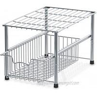 SimpleHouseware Stackable Under Sink Cabinet Sliding Basket Organizer Drawer Chrome