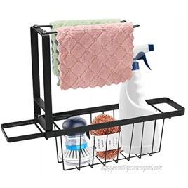 Telescopic Sink Storage Rack Adjustable Carbon Steel Kitchen Sink Organizer with Rotation Pole Sink Sponge Holder for Sponges Soaps Scrubbers