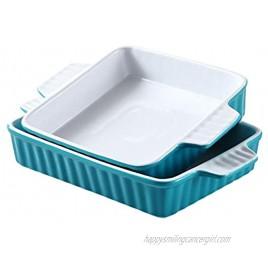 Bruntmor Set Of 2 Rectangular Bakeware Set Ceramic Baking Pan Lasagna Pans for Baking 9.5 x 7.5 + 8 x 7.5 Teal white