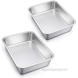 Lasagna Pan Set of 2 E-far Rectangular Deep Cake Baking Pans 12.75 x10 x3.2 Inches Roaster Baking Dish Stainless Steel Non-Toxic & Heavy Duty Dishwasher Safe