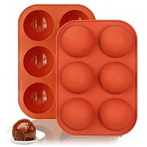 2PCS 6 Holes Half Ball Sphere Silicone Cake Mold Muffin Chocolate Cookie Baking Mould Pan Handmade Mini Muffin Soap Make Red