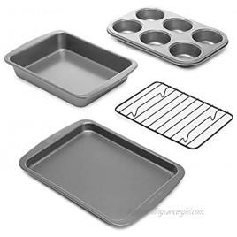 Ecolution Toaster Oven Bakeware 4Piece Set Nonstick Heavy Duty Carbon Steel 4-Piece Gray