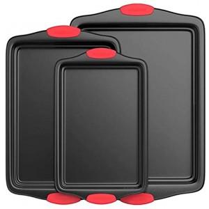 Nutrichef Non-Stick Kitchen Baking Pans w Heat Red Silicone Handles Oven Safe 3 Piece Set