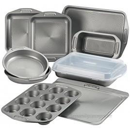 Circulon Total Nonstick Bakeware Set with Nonstick Bread Pan Cookie Sheet Baking Pan Baking Sheet Cake Pan and Muffin Cupcake Pan 10 Piece Gray