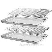 Suwimut Baking Sheet with Rack Set 2 Sheets + 2 Racks Stainless Steel Nonstick Cookie Pan with Cooling Rack Non Toxic Easy Clean and Dishwasher Safe
